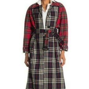 Burberry Long Plaid Check Trench Coat 6 Cotton